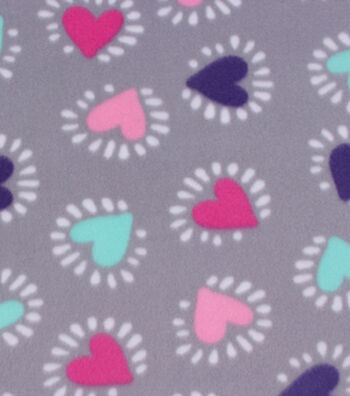 "Blizzard Fleece Fabric 59""-Hearts On Gray"
