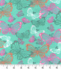 Snuggle Flannel Fabric -Stenciled Butterflies Green