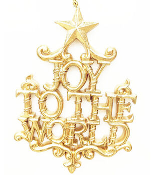 Handmade Holiday Crimson Traditions Joy to the World Ornament-Gold
