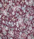 Premium Cotton Fabric-Pearlized Mini Garden on Burgundy