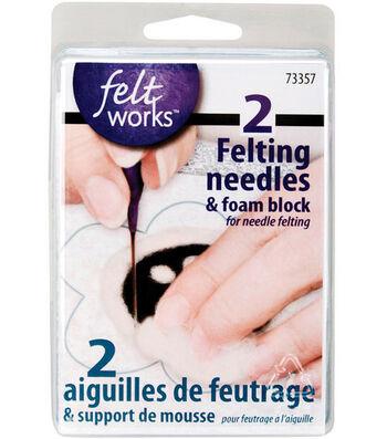Feltworks Two Felting Needles And Foam Block Set