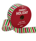 Maker\u0027s Holiday Ribbon 1.5\u0027\u0027x30\u0027-Multi Glitter Chevron on White
