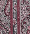Vintage Cotton Fabric 43\u0027\u0027-Red Stripe & Paisley