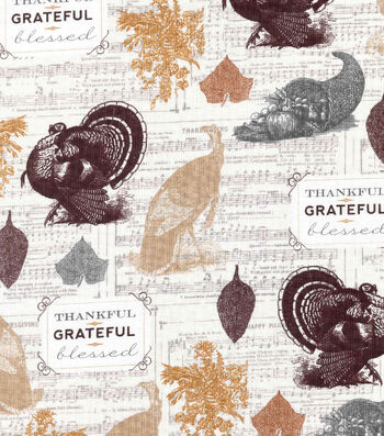 Fall Harvest Cotton Fabric- Grateful Turkeys On Music