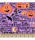 Halloween Cotton Fabric -Five Little Pumpkins