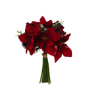 Blooming Holiday 12'' Red Poinsettia, Berry, Pinecone & Holly Bouquet