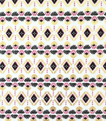 Doodles Juvenile Apparel Fabric -Foiled Tribal Interlock