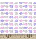 Snuggle Flannel Fabric -Elephant Parade Purple