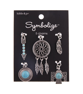 hildie & jo Symbolize 5 pk Bird Feather Charms-Turquoise