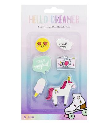 American Crafts Hello Dreamer 6 pk Erasers