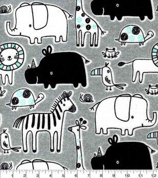 Nursery Flannel Fabric-Gray Blue Safari