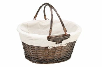 Organizing Essentials Oval Lined Willow Basket with Swing Handles