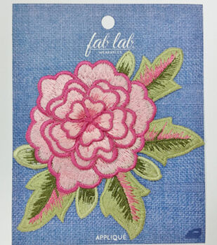 Fab Lab Wearables Layered Flower Iron-on Applique-Pink