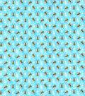 Novelty Cotton Fabric-Bumblebees Light Blue Glitter