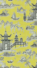 Waverly Print Fabric 54\u0022-Peaceful Temple/Lemongrass