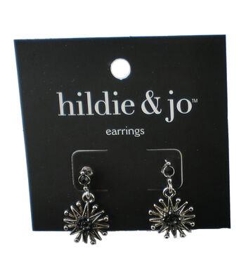 hildie & jo Starburst Silver Earrings-Gray Crystals