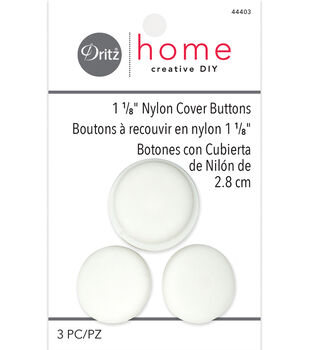 """Dritz Home 1.13"""" Nylon Upholstery Cover Buttons Round 3pcs Size 45"""