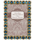 Jeweled Metal Frame with Blue Stones 4X6-Gold