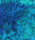 Anti-Pill Fleece Fabric -Blue Green Floral Tie Dye