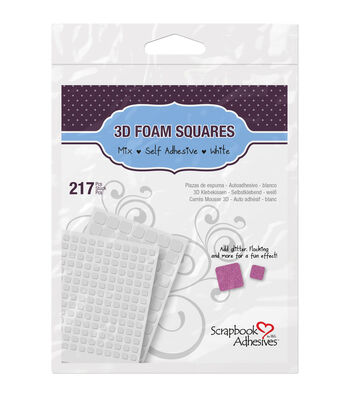 Scrapbook Adhesives 3D Foam Squares Assortment-217PK/Black or White