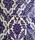 Printed Knit Rayon Spandex Fabric 55\u0022-Folk Tile Blue Brushed