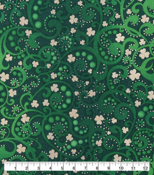 St. Patrick's Day Cotton Fabric-Scrolls with Foil Clovers
