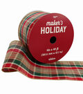 Maker\u0027s Holiday Christmas Ribbon 4\u0027\u0027x40\u0027-Natural, Red & Green Plaid