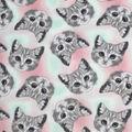 Anti-Pill Plush Fleece Fabric-Tossed Kitten Faces