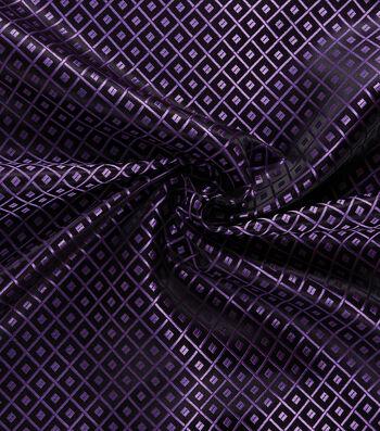 Yaya Han Cosplay Brocade Fabric 58''-Purple Japanese Geometric on Black