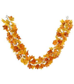 Blooming Autumn 66'' Maple Leaf Chain Garland-Orange