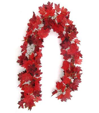 Blooming Autumn Maple Leaf Garland-Burgundy