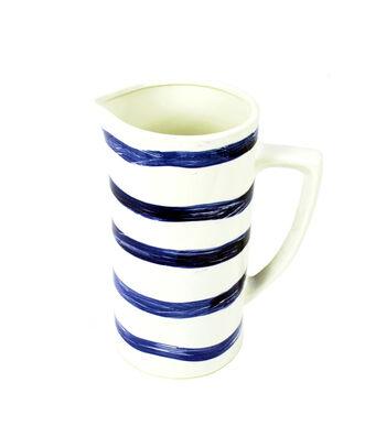 Seaport Pitcher-Blue & White Stripe