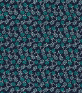 Quilter\u0027s Showcase Fabric -Pool Green Ditsy Floral on Navy