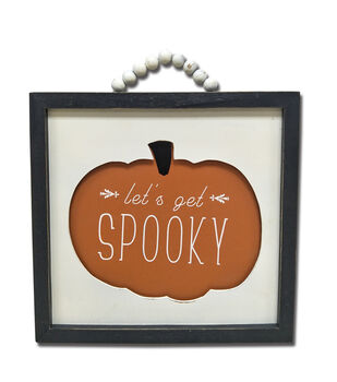 Maker's Halloween 13.46''x13.78'' Wall Decor-Let's Get Spooky on Pumpkin
