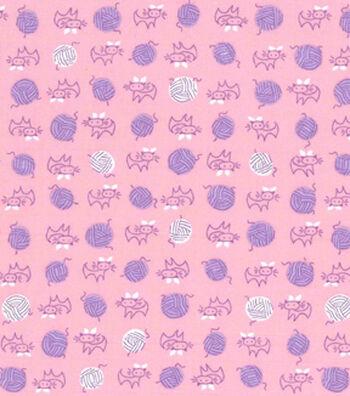 1930's Premium Cotton Print Fabric 43''-Kitty & Yarn Ball on Pink