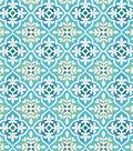 Snuggle Flannel Fabric 42\u0022-Blue Green Geo