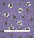 Halloween Spirit Fabric-Flocked Witches with Gold Foil Stars