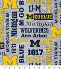 University of Michigan Fleece Fabric 60\u0022-Heather Verbiage