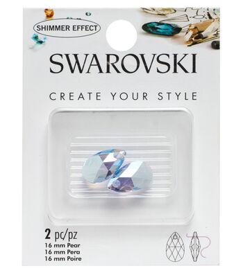 Swarovski Create Your Style 2 pk Pear Pendants-Light Sapphire Shimmer