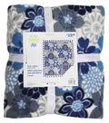 No Sew Fleece Throw 72\u0022-Indigo Large Floral