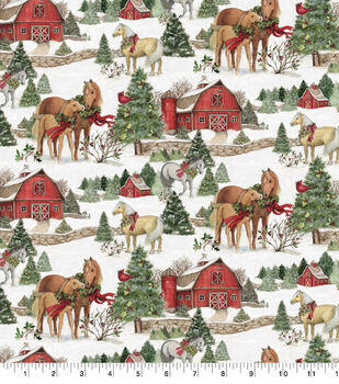 Christmas Cotton Fabric-Scenic Horses