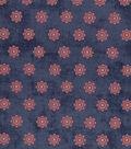 Vintage Cotton Fabric 43\u0027\u0027-Intricate Circles on Blue