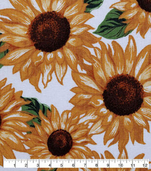 Harvest Cotton Fabric-Packed Sunflowers Cream