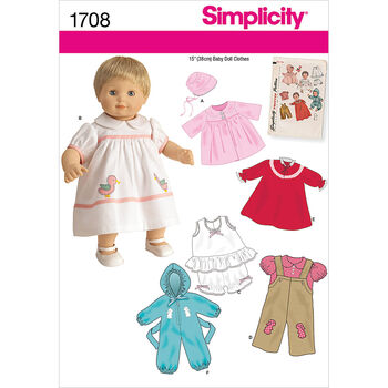 Simplicity Pattern 1708OS One Size -Crafts Doll Clothes