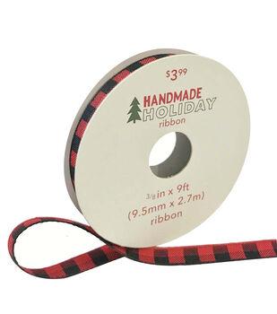 Handmade Holiday Christmas Ribbon 3/8''x9'-Red & Black Plaid