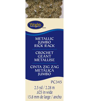 "Wrights Jumbo Metallic Rick Rack-5/8""W x 2-1/2yds Gold"