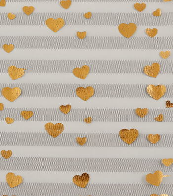 Tulle Fabric 56''-Black Stripe with Gold Foil Hearts