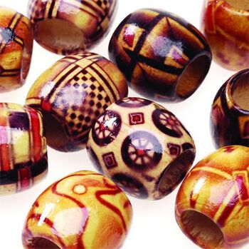 Darice Big Value! 16mm Printed Wood Barrell Beads-24PK/Wood