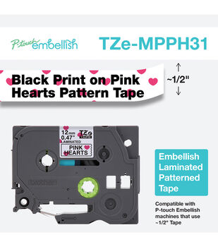 Brother P-touch Embellish Patterned Tape-Black Print on White with Heart