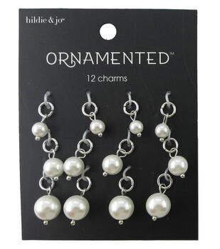 hildie & jo Ornamented 12 Pack Silver Charms-Pearl